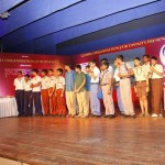 The six teams that made to the finals decorating the dias alongwith the quiz master